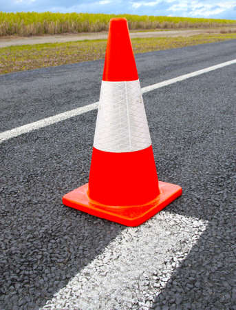Traffic Cones or witches hat on the road photo