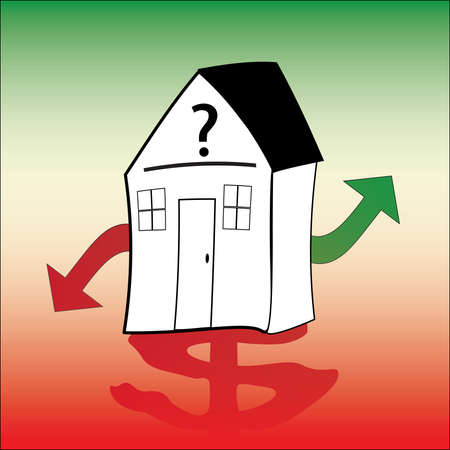 housing crisis with red dollar sign Vector