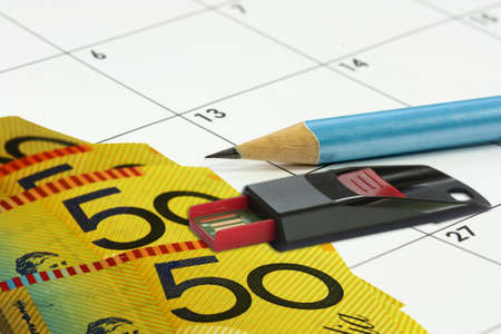 usb disk: calander background with money pencil and USB