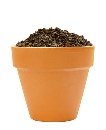 plant pot: one clay pot with soil on white background Stock Photo