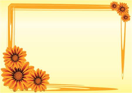 grens: Gazania bloemen met een oranje rand op gele achtergrond Stock Illustratie