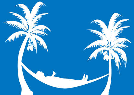 hammock with coconuts with blue background Vector