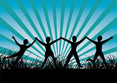 un groupe de gens heureux avec un fond de rayons Vecteurs