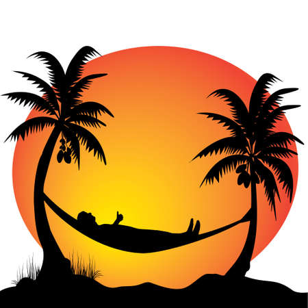relaxing on a hammock in the moonlight Vector