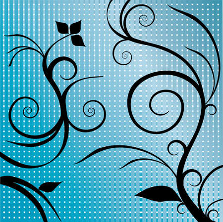 smooth curve design: swirls and leaves with blue square background