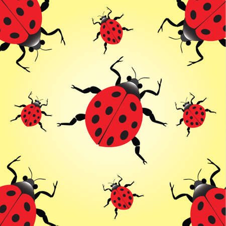 nine lady bugs on yellow background paper Vector