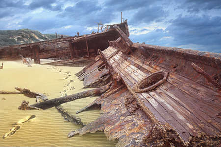meheno shipwreck on fraser island  on a cloudy day photo