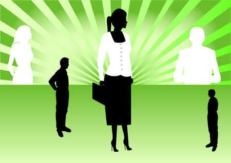 four business people with green ray background Vector