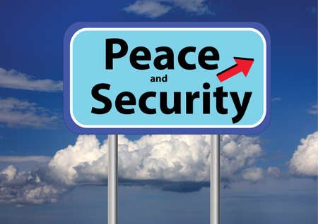 disarmament: peace and security sign and sky background