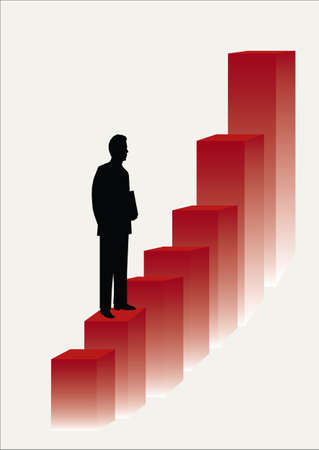 corporate ladder: one business man climbing the corporate ladder