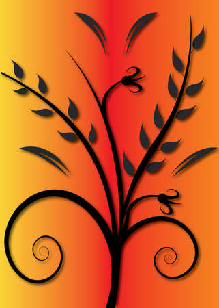 leaves and  flower illustration on a orange background Vector