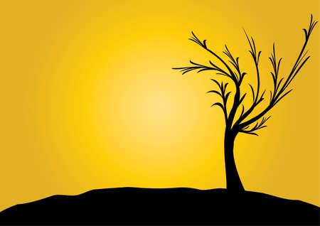 lone: single black tree on gold background Illustration