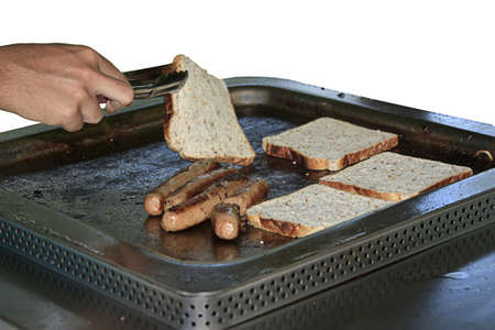grill tongs sausage: aussie style barbeque snacks on the barbie
