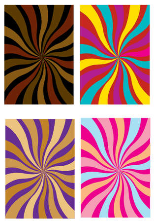 four texture: a set of four different colored swirls or rays Illustration