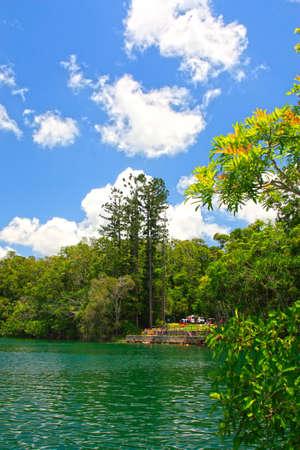 tableland: beautiful Lake Eacham on the Atherton Tableland Australia Stock Photo