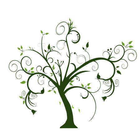 arbol de la vida: swirly �rbol en el fondo blanco Vectores