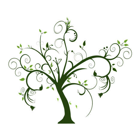 swirly tree on white background Vector