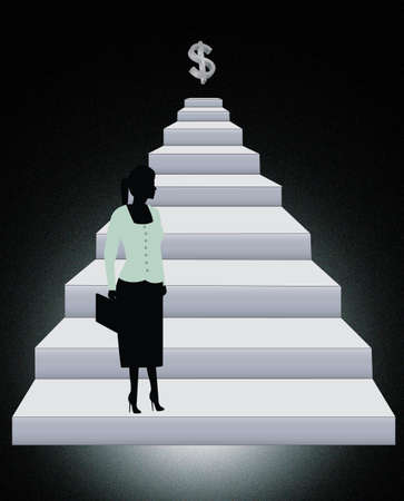 smart woman: climbing steps to success