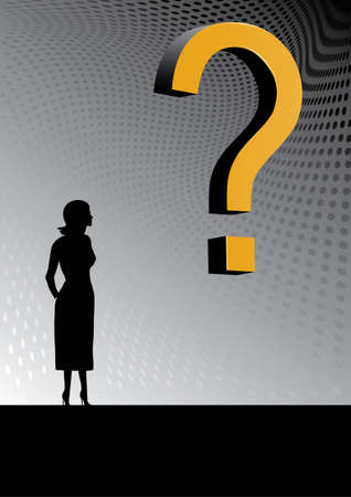 3D question with women and dots in background Stock Vector - 13385224