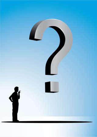 Câu hỏi 3D và một người đàn ông trên một nền màu xanh