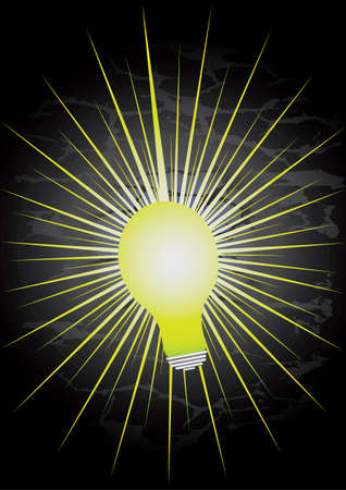 light bulb with bright yellow rays and black background Vector