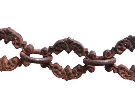 a very old chain found at a  Cemeteries  at Cooktown  on a white background photo