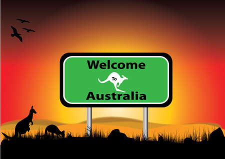 signe of welcome to Australia with  sunset background Vector