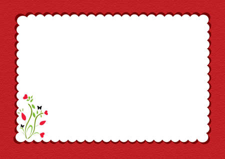 writting: red scalloped  notepad framed with floral design inside