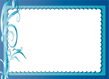 scallops: bird with scalloped edge border and space for writing