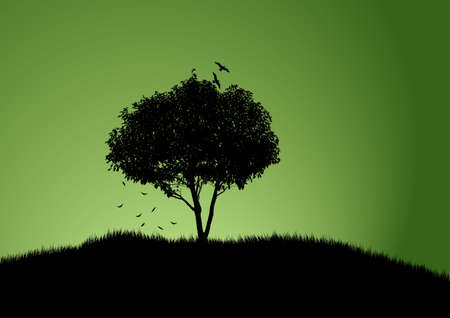 grass silhouette: tree with green background and falling twigs