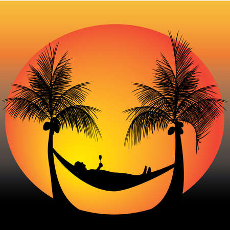 relaxing on a hammock  in between palm trees 일러스트