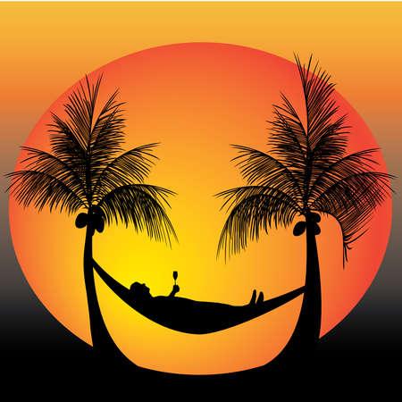 hamaca: relajarse en una hamaca en medio de palmeras