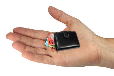 a young hand on a white background holding  a purse with dilminishing money value photo