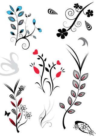 white flower: a set of assorted flower designs Illustration