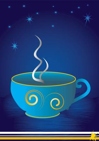 instant coffee: a lovely blue cup with gold trims on blue background Illustration