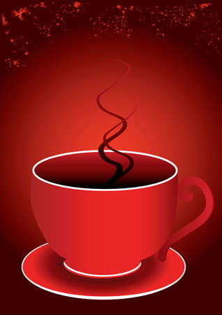 a single red cup and a red background Vector