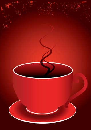 hot plate: una sola taza de color rojo y un fondo rojo