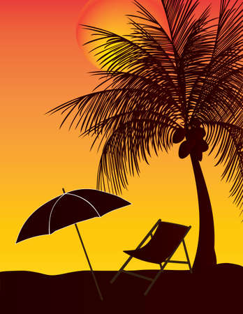 coconut tree: relax umbrella coconut tree in the sunset