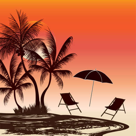 outdoor evening scene  a place to relax Vector