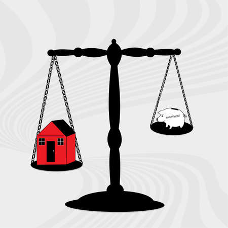 weighing scale: a black scale weighing a house and a piggy depicting investment