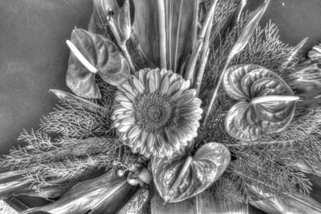 bouquet of flowers close up black and white photo