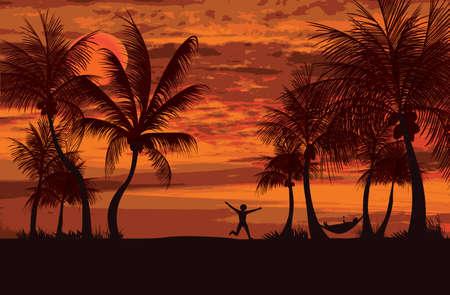 siesta: due persone godersi il tramonto di sera e rilassante