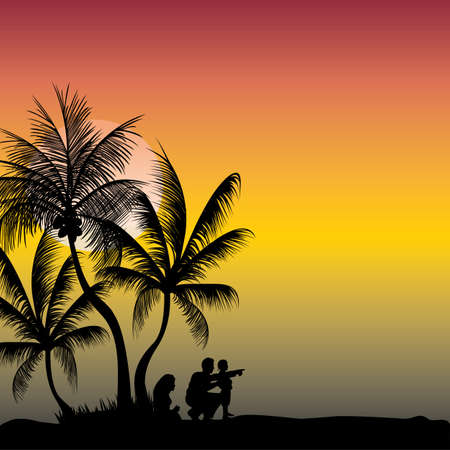 three palm trees: a young family relaxing in the cool evening Illustration