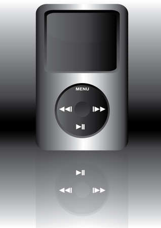 mp3 player: illustration of a mp3 music player on black and white background