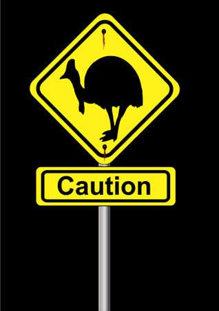 cassowary: cassowary sign on a black background Illustration