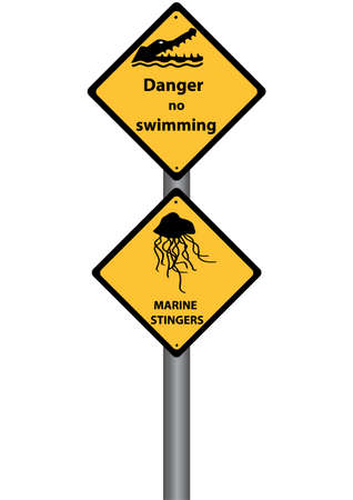 jelly fish: signs on no swimming due to marine stingers and crocodiles Illustration