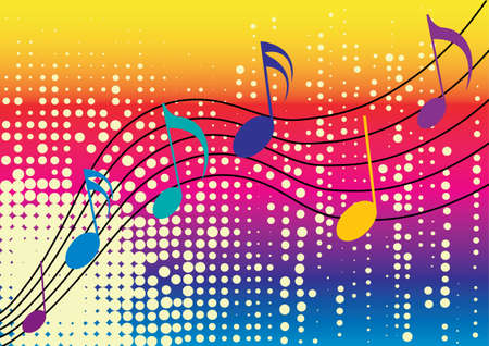 in tune: music notes with white dots and rainbow background