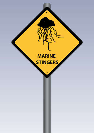 stingers: a yellow stinger sing of marine stingers Illustration