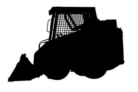 skid loader: a skid loader silhouette on white background