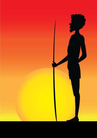 aborigine: silhouette of one aborigine man in the sunset